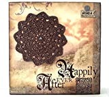 "Mandala creativo, lámina decorativa sobre corcho con mandala marrón. ""Happy for ever""..."
