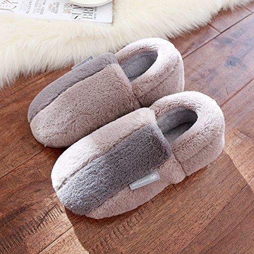 in slittamento cotone anti soggiorno e invernali spessi sig e ra Grigio1 con pantofole pacchetto caldo pantofole autunno DogHaccd scarpe inverno coppie graziosa La xR7qn6gFPU