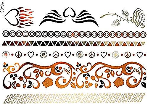 Ys-68 - Fake Tattoo - Arme - Knöchel - Handgelenk - Bein - Bein - Schulter - Rücken - Engelsflügel - Herz - Flammen - Pink - Blumen - Frieden ()