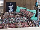 LaModaHome 4-teiliges Bettwäsche-Set für Doppelbett und Doppelbett, weich, farbig, 100% Baumwolle, Ranforce, Bettwäsche-Set, bunt, symmetrisch, Gemustert, traditionelle alte Blumen-Rose mit Bettlaken