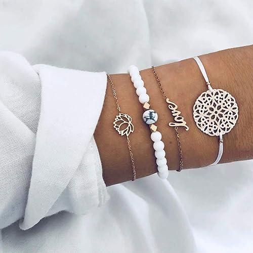 Arimy Boho Bracciale in oro turchese fatto a mano lettera amore catena da polso Hollow Lotus catena gioielli accessori per donne e ragazze (4 pezzi)