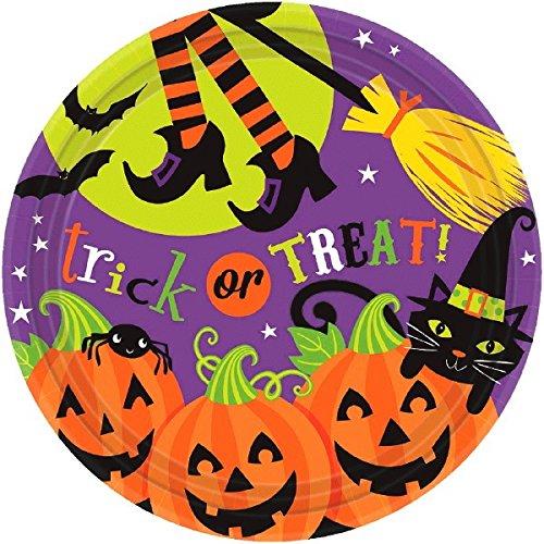 Witch 's Halloween Trick or Treat Crew Einweg rund Dessert Pappteller, 17,8cm 18Stück.