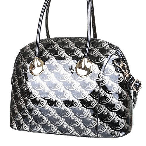 Damen Handtasche Lacktasche Schultertasche hochglanz designer Tasche Schwarz