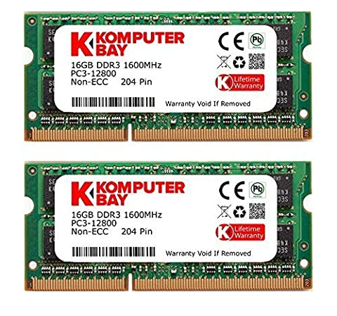 Komputerbay 32GB Dual Channel Kit 2x 16GB 204pin DDR3-1600 SO-DIMM 1600 PC3-12800 (1600MHz, CL11)