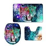 Hugsidea Galaxy étoile 3pièces Ensemble de tapis de salle de bain contour Rugs Couvercle pour abattant Tapis de bain, flanelle, Galaxy Leopard, s