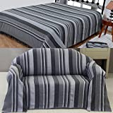Homescapes Morocco Textured Stripe Throw 90 x 100 Inches Grey Charcoal Light Grey Handmade 100% Cotton Suitable for most 3 Seater Sofas Double King bedspreads Easy care washable at home