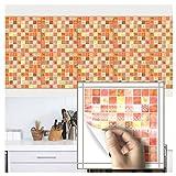 HyFanStr 20,3x 20,3cm Mosaik Aufkleber Fliesenspiegel Fliesen Aufkleber Küche Wand Aufkleber Orange