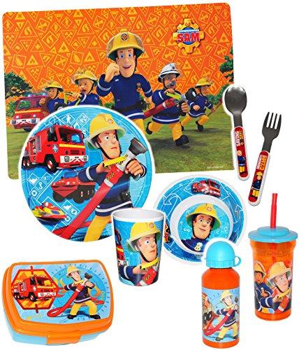 alles-meine.de GmbH Trinkbecher / Trinkflasche - mit Strohhalm & Deckel -  Feuerwehrmann Sam  - 450 ml - durchsichtig & transparent - für Kinder - Trinkhalm - Kunststoff Kunsts.. -
