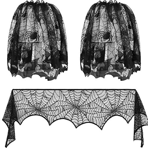 Lace Shades (Allfuu 3 Stück Halloween Spitzendekoration Spiderweb Kamin Schal Lampenschirme Abdeckungen Spiderweb Lampenschirme Festliche Party Supplies)
