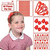 40 PIECE SCHOOL HAIR ACCESSORIES SET FOR GIRLS: Red Headbands, Hair Clips, Hair Bands, Ribbon Bows, Slides, Barrettes - Back To School Just Got Easier & Cheaper.