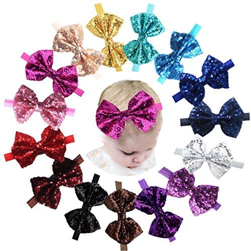Haarband / Stirnband für Mädchen (Baby / Kleinkind / Kind), Glitter, 15 Stück