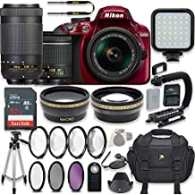 Nikon D3400 24.2 MP DSLR Camera (Red) Video Kit With AF-P 18-55mm VR Lens & AF-P 70-300mm ED VR Lens + LED Light + 32GB Memory + Filters + Macros + Deluxe Bag + Professional Accessories
