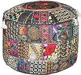 Traditional India Patchwork Ottoman, Repose-Pieds Cover, Vintage Ottoman Pouf Coque Pouff, Pouf décoratif Housse de Chaise 45,7x 33cm.