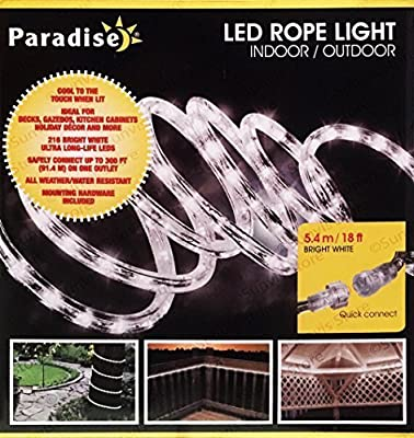 Paradise White LED Rope Light 18FT Indoor/ Outdoor Extendable Lights