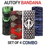 #10: Autofy Unisex Multipurpose Freesize Bandana Combo Lycra Headwrap Riding Hair Band Motorcycle Face Mask for Men and Women (Set of 4)