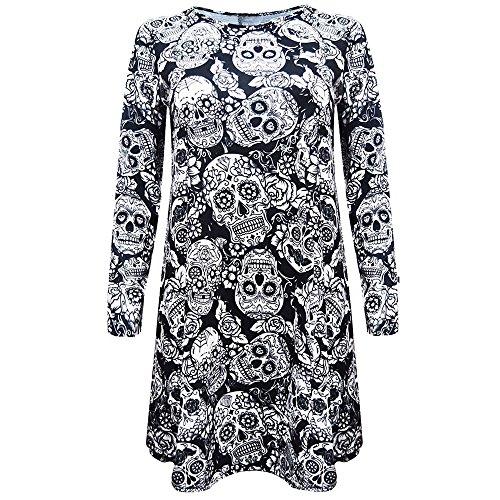Fresofy Damen Halloween Retro Lace Vintage Kleid Eine Linie Kürbis Schaukel Kleid Damen Langärmeliges Mini-Kleid mit Schlägern und Totenköpfen