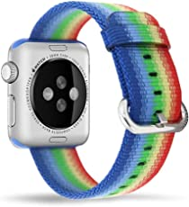 Memore® Nylon Band With Metal Buckle, Apple Watch Strap, Apple Watch Band, Replacement Wrist Band, Bracelet Band for Apple Watch, iWatch, Series 1, Series 2, Series 3 & Nike Sport Series (42mm, Colorful) (NY-72)