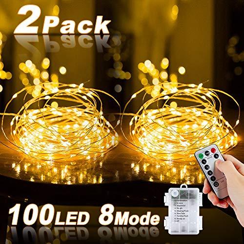 Lichterkette Batterie, Nasharia 2er 10M 100 LED kupferdraht lichterkette 8 Modi Außenbeleuchtung Batteriebetrieben Wasserdichte IP67 mit Fernbedienung und Timer für Innen/Außen Weihnachten Dekoration
