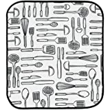 InterDesign Idry Mat Utensils, 18-Inch By 16-Inch, White/Black