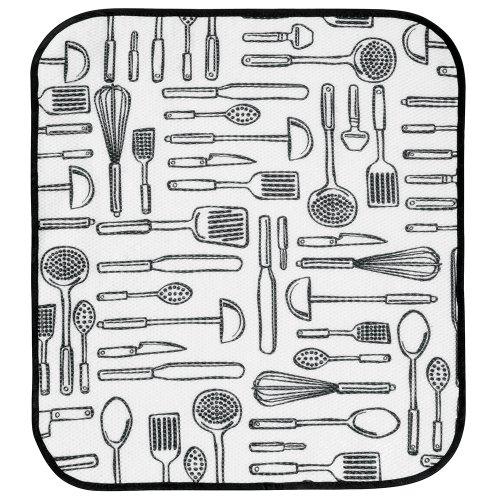 InterDesign iDry Tapete de Cocina, Alfombrilla escurreplatos Grande y Fina Fabricada en poliéster para un Secado de Platos rápido, Blanco/Negro