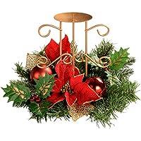 WeRChristmas 22 cm Holly/hojas/centro de mesa con diseño de flores de juego de portavelas sencillo de árbol de Navidad, rojo/dorado