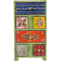 Home And Bazaar Traditional Wooden Antique 2+4 Drawer Hand Painted Chest Size 6x4x11Inch / 15x10x27.5Cm