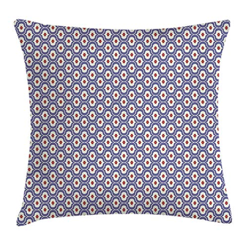 Paint Throw Pillow Cushion Cover, Traditional Moroccan Mosaic Arabesque Ethnic Oriental Middle Eastern Motif, Decorative Square Accent Pillow Case, 18 X 18 inches, Coconut Purple Ruby Kings Crown Ruby