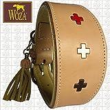 Woza Premium WINDHUND Halsband 6,8/47CM Swiss Multicolour Vollleder Rindleder Nappa Handmade Greyhound Collar Natur/BEIGE