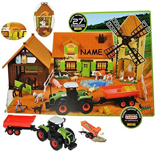 Komplettset: XL Bauernhof / Pferdestall mit Mühle + Traktor mit Tiere + Zubehör incl. Name – für Kinder Pferd zum Spielen + Bauen aus Plastik / Kunststoff – Gestüt – 1/43 – Farmtiere Deko Tier – Spielwelt Spielset