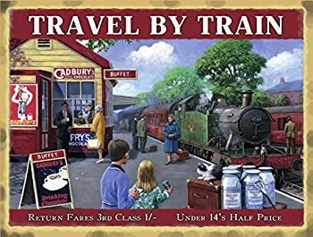 Travel By Train, Cadburys Cafe With Green Steam Locomotive Train. Sign For Kitchen, Cafe, House, Home Or Restaurant. Large Metalsteel Wall Sign 0