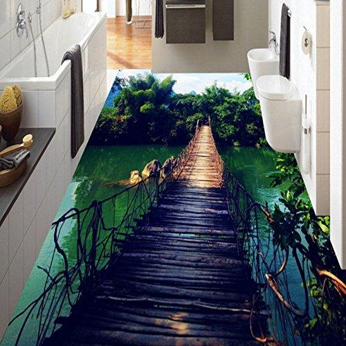 Preisvergleich Produktbild Wapel Benutzerdefinierte Holz-Bambus-Brücke Himmel Wasser Weiße Wolken Landschaft 3d Stereo Mall selbstklebender fernanzeigeanwendungen Flur Wallpaper 350 cm x 245 cm