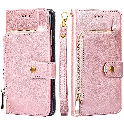 Forhouse SamsungGalaxyM10 PU Hülle,Ledertasche Hülle, Premium PU Leder Schutzhülle Flip Magnet Brieftasche Kartenfach Schlanke stoßfest Schutzhülle für SamsungGalaxyM10 PU (Rose Gold)