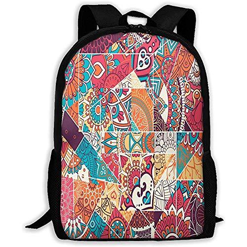 Daypacks,Totem-Dreieck-Glasmalerei-Schulrucksack, Bunte Druckrucksack-Daypack-Buch-Taschen für das Reisen des sportlichen Kampierens -