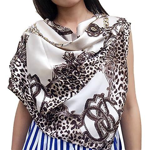 Fashion Attack 90cm x 90cm Women 2017 New Fashion Euro Design Classical Brand Luxury Sexy Leopard Printed Long Silk Scarf Big Shawl