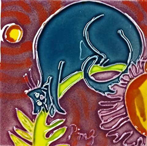 Continental Art Center sd-1094von 4-Zoll Lila Cartoon Katze Keramik Art Tile