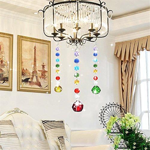 Kristall Beleuchtung Farbe Kristall Ball Anhänger Farbe Achteckige Perlen für Licht Home Decro (7 Farben Kristall + transparente Farbe Anhänger) (Teardrop Vorhänge)