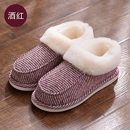 DogHaccd pantofole,Il cotone pantofole pacchetto femmina con spessi inverno incantevole soggiorno interno felpato caldo pantofole giovane Il vino è di colore rosso4