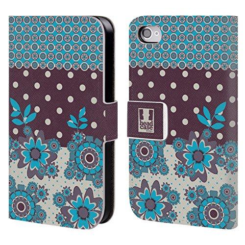 Head Case Designs Orange Gelb Blumen Und Punkte Brieftasche Handyhülle aus Leder für Apple iPhone 5c Blau Violett