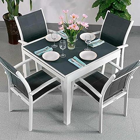 Chloe Tisch und 4 Georgia Stühle - WEIß & GRAU | ausziehbarer Esstisch mit passenden Stühlen