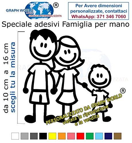 Graph World 3 Adesivi Stickers Adesivo Famiglia a Bordo vetri Auto Nome Bambini per Mano