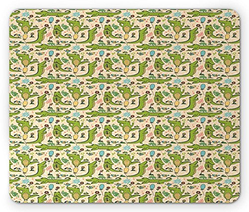 Alligator Mouse Pad, Happy Party with Dancing Crocodiles Flower Field and Balloons Birthday Cartoon, Standard Size Rectangle Non-Slip Rubber Mousepad, Multicolor 9.8 X 11.8 inch