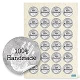 48 Stück kleine runde weiß graue 100% HANDMADE HAND Aufkleber Sticker selbstklebende Etiketten 4 cm für selbstgemacht Handarbeit selbst gemacht handgemacht Geschenkaufkleber Verpackung