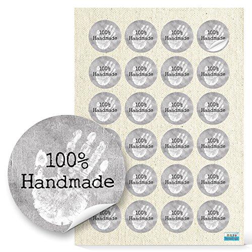 48 Stück kleine runde weiß graue 100{5b6376b6b0c4a504b247e684b2d6a4a190cf9d898022a8dceeda3d2c7ccc9dd6} HANDMADE HAND Aufkleber Sticker selbstklebende Etiketten 4 cm für selbstgemacht Handarbeit selbst gemacht handgemacht Geschenkaufkleber Verpackung