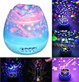 Welltop Starry Baby Night Light Moon Star Projector Light 360 Degree Rotation Colorful LED Projection Lamp, Decorative Light, Mood Light, Best Gift for Nursery Baby Children Bedroom Living Room