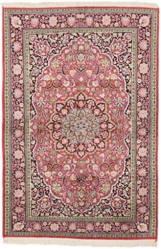 CarpetFine: Kaschmir Seide Teppich 124x183 Pink,Schwarz - Handgeknüpft - Ornament - Kaschmir-schwarz-teppich