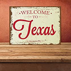 Metal Sign Welcome To Texas, Texas Sign, Texas, State Sign, Usa Sign, Usa, American State Sign, Decor Sign, Custom Sign, Metal 12 X 8 Inch
