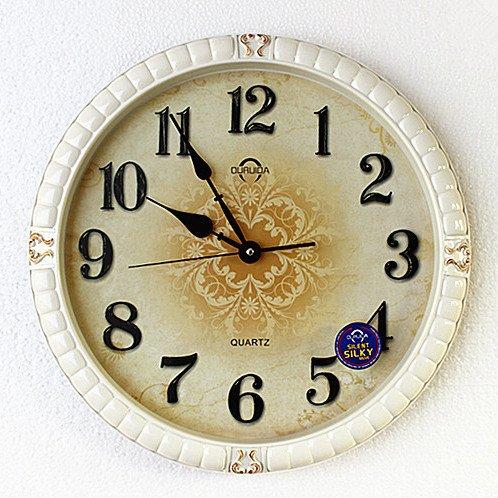 CNBBGJ Horloge murale rétro grand salon de style américain mute cartes murales horloge créative de la personnalité de la mode horloge ronde horloge suspendue,20 cm,blanc ivoire