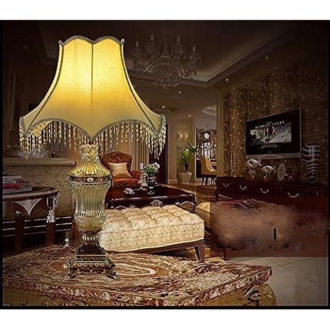 YM@YG Lusso stile europeo elegante camera da letto comodino lampada continentale vetro cristallo cucito lampada
