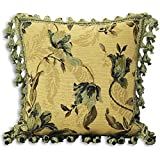 Garda Chenille Jacquard Woven Tasselled Green Cushion Case 45cm x 45cm