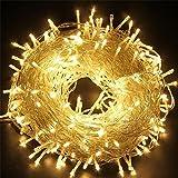 Tophie Cadena de Luces LED Impermeable Luces de Alambre de Cobre Hadas de Cuerda Luces Decorativas para Fiesta Navidad Boda Jardín Dormitorio Patio - Blanco Cálido (50M-400LED-Plug)